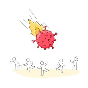 Große coronavirus-bakterien greifen menschen wie meteoriten an.