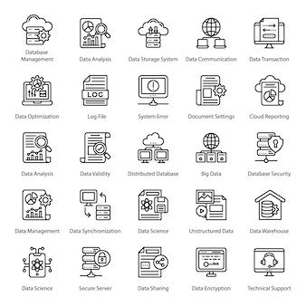 Große datenleitung icons set