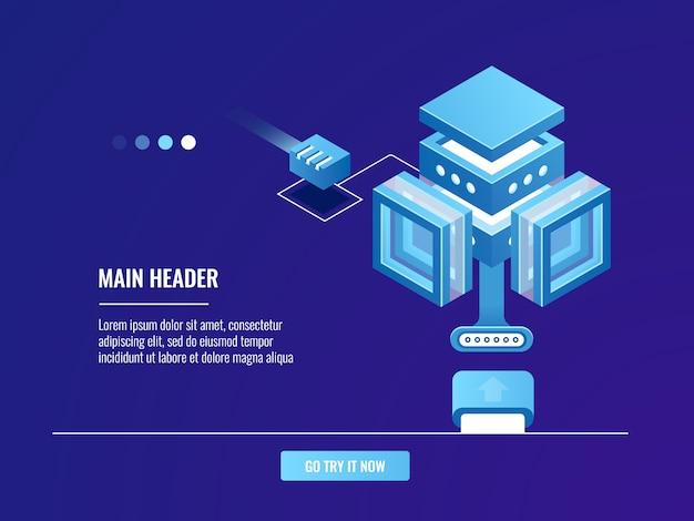 Große datenspeicherung, cloud-serverraum, internetverbindung, vernetzung