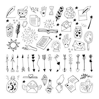 Große doodle-vektorelemente über esoteriker. handgezeichnete gläser, federn, pfeile, bücher, sonne, mond, sterne und andere magische symbole. isoliert auf weißem hintergrund.