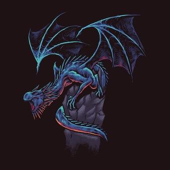 Große drachenkunstzeichnung illustraton