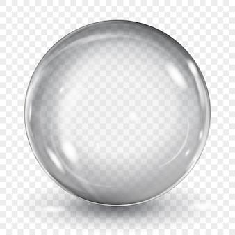 Große durchscheinende graue kugel mit blendung und schatten auf transparent