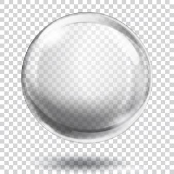 Große durchscheinende graue kugel mit blendungen und schatten auf transparentem hintergrund