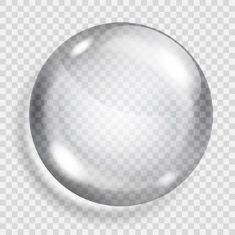 Große durchscheinende graue kugel mit schatten auf transparentem