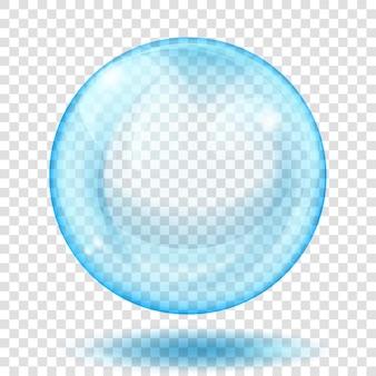 Große durchscheinende hellblaue kugel mit blendung und schatten auf transparent