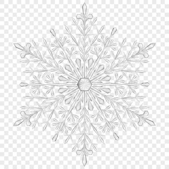 Große durchscheinende weihnachtsschneeflocke in grauen farben auf transparentem hintergrund. transparenz nur in vektordatei