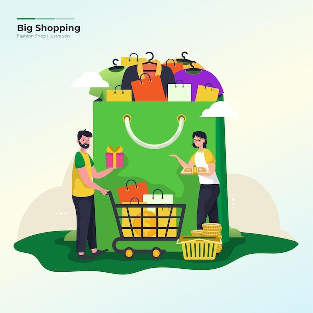 Große einkaufsverkaufsillustration für e-commerce-förderkonzept