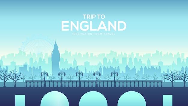 Große englandbrücke auf dem landschaftshintergrund des stadtkonzepts. städtische vektorillustration