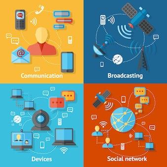 Große Entwürfe mit Geräten und Kommunikations