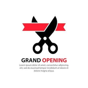 Große eröffnung. eine schere durchtrennt das rote band. einweihungssymbol. konzept der einladung für den kunden eines restaurants oder cafés. vektor auf weißem hintergrund isoliert. eps 10.