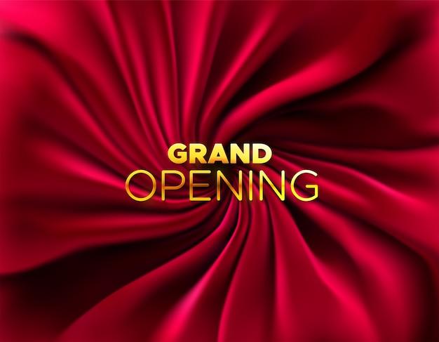Große eröffnung. eröffnung der unternehmensgründung. illustration. marketing event label. abstrakter hintergrund mit seidig rotem stoff