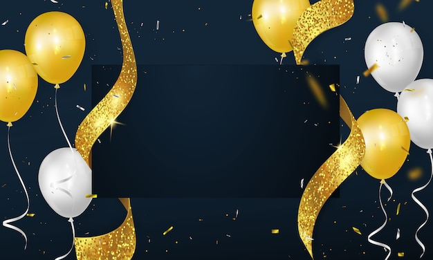 Große eröffnungskarte mit glitzerrahmenschablone des goldenen bandhintergrundes.