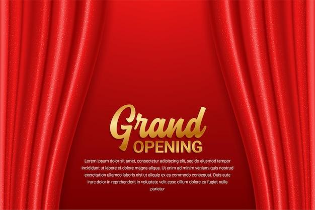 Große eröffnungsschablone mit rotem vorhang