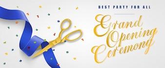 Große Eröffnungsfeier, beste Party für alle festlichen Banner mit Konfetti und Goldscheren