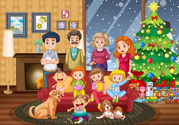 Große familie, die am weihnachtstag sich trifft