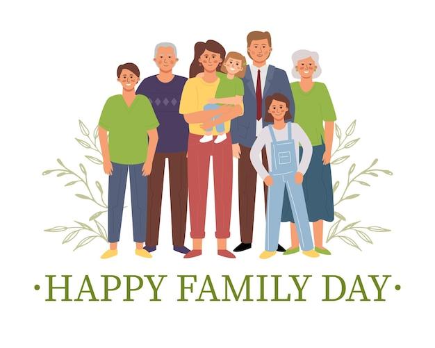Große familie, die illustration zusammensteht