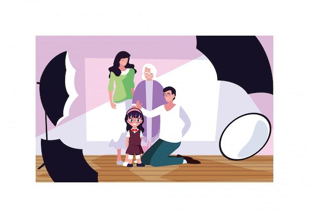Große familie, die mit kameras im fotostudio aufwirft