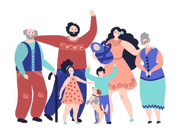 Große familie. generationen, cartoon lächelnde eltern und kinder. glückliche großeltern mama mädchen junge babyfiguren, elternschaft vektorkonzept. illustrationsfamilienmutter und -vater glücklich