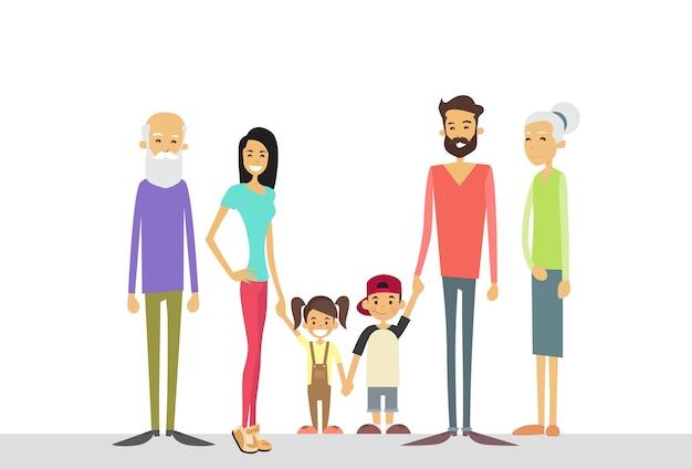 Große familie kinder eltern großeltern generation