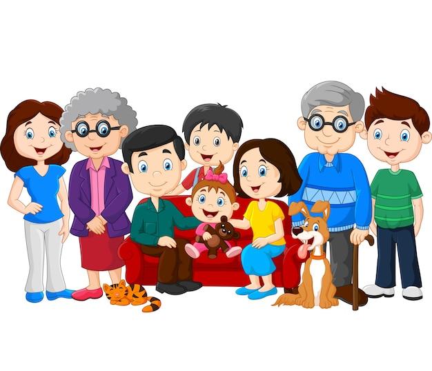Große familie mit den großeltern getrennt auf weißem hintergrund