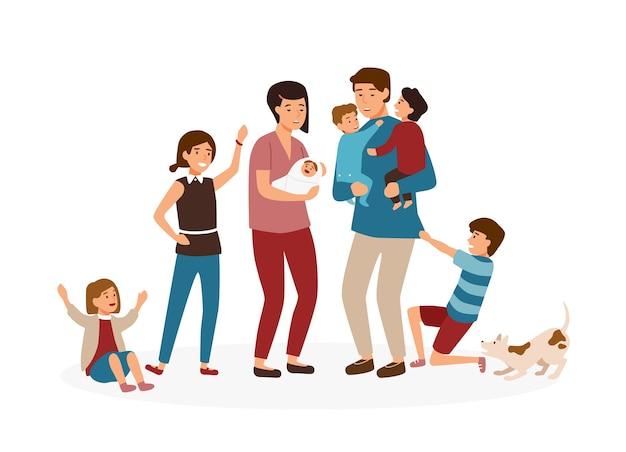 Große familie mit vielen kindern