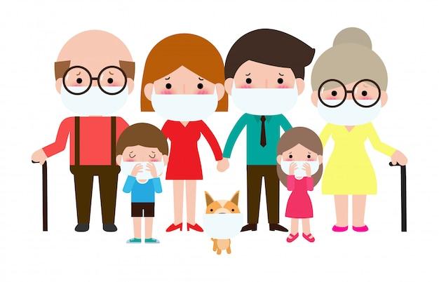 Große familie trägt medizinische schutzmaske zur verhinderung des covid-19-virus ncov oder coronavirus aus wuhan, china krisenkonzept. isoliert auf weißem hintergrund illustration