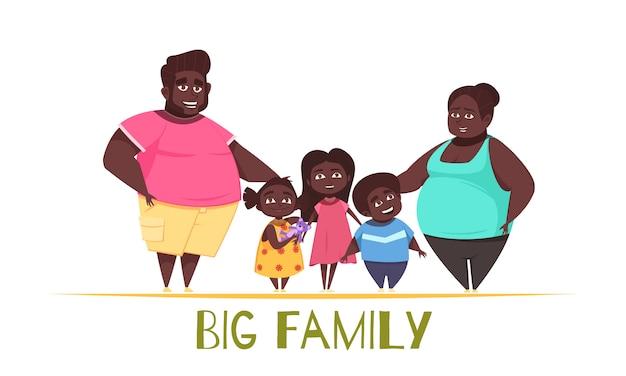 Große familienillustration