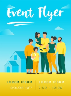 Große familienversammlung flyer vorlage