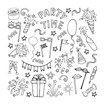 Große feier clipart set partyzeit doodle clipart mit feuerwerk partyhut geburtstagstorte