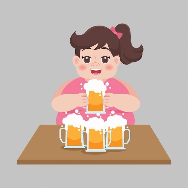 Große fette frauen, die einen becher bier, gesundheitskonzept, vektorillustration in einem flachen stil trinken.