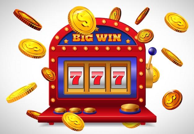 Große gewinnbeschriftung, glücksspielmaschine mit sieben spielautomaten und fliegende goldene münzen.