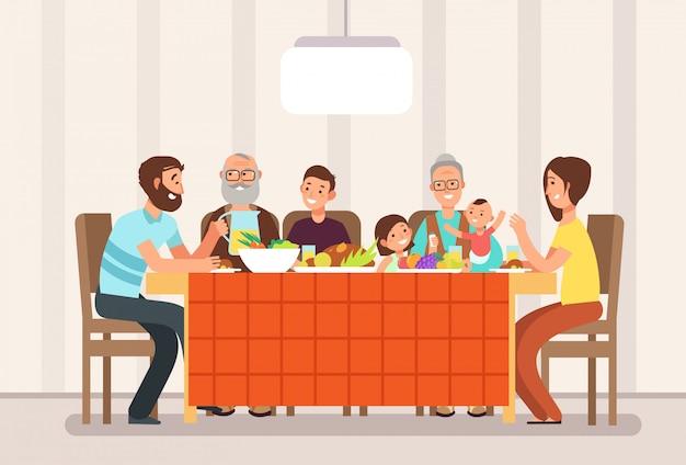 Große glückliche familie, die zusammen das mittagessen in der wohnzimmerkarikaturillustration isst