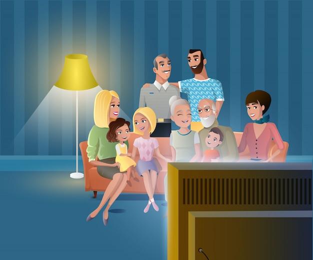 Große glückliche familie, die zusammen vektor zu hause erfasst