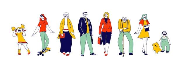 Große glückliche familie großeltern, eltern, kinder und enkel männliche und weibliche junge und ältere charaktere, generationen stehen in reihe, isoliert auf weißem hintergrund. lineare menschen-vektor-illustration