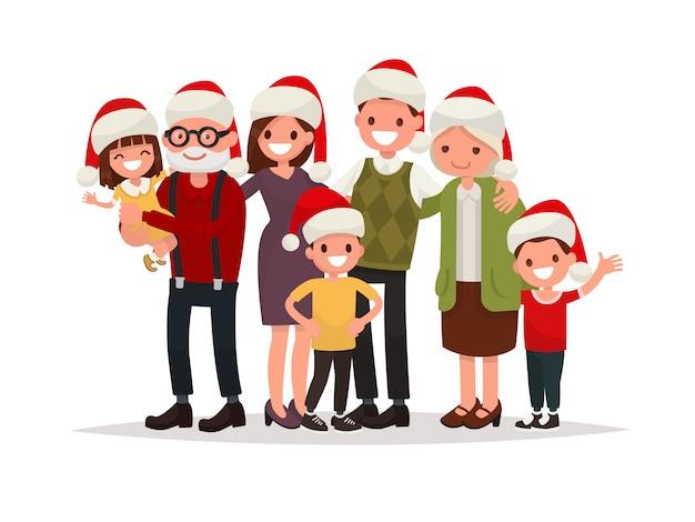 Große glückliche familie in weihnachtsmützen. großeltern, eltern und kinder zusammen.