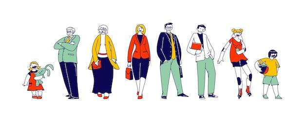 Große glückliche familie junge und ältere charaktere.