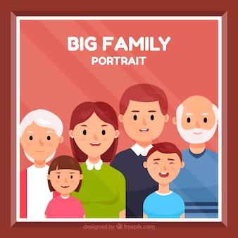 Große glückliche familie mit flachem design