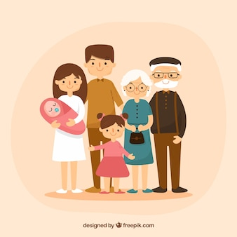 Große glückliche familie mit hand gezeichneter art