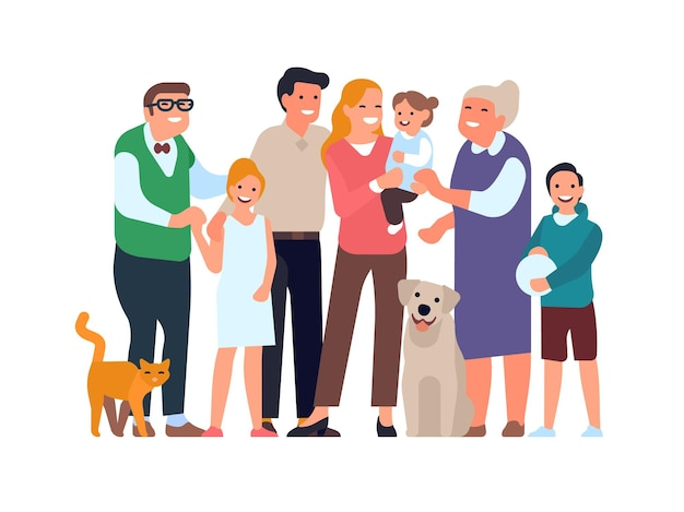 Große glückliche familie. verwandtes gruppenporträt in vollem wachstum, eltern, großeltern, kinder und haustiere, jugendliche und kleinkinder zusammen vektorkonzept
