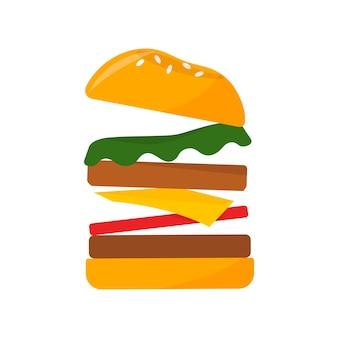 Große grafische illustration der hamburgerikonenikone