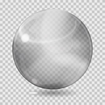 Große graue transparente glaskugel mit blendungen und schatten. transparenz nur in vektordatei