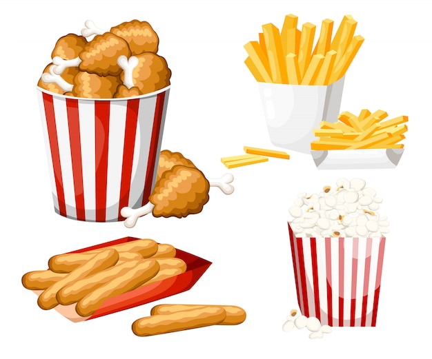 Große gruppe von fast-food-produkten. illustration auf weißem hintergrund. satz käsestick, popcorn, pommes frites, gebratenes huhn im streifeneimer.