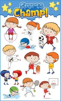 Große gruppe von kindern, die verschiedene sportarten spielen