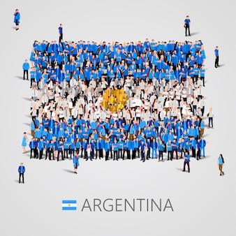 Große gruppe von menschen in form der argentinischen flagge