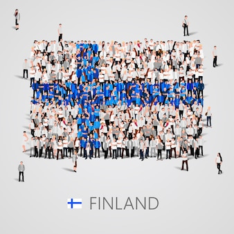 Große gruppe von menschen in form der finnischen flagge
