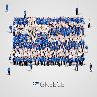 Große gruppe von menschen in form der griechischen flagge