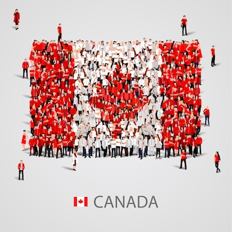 Große gruppe von menschen in form der kanadischen flagge