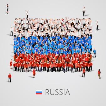Große gruppe von menschen in form der russischen flagge