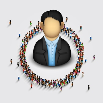 Große gruppe von menschen in form eines kreises. vektor-illustration