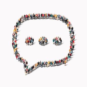 Große gruppe von menschen in form von chatblasen.